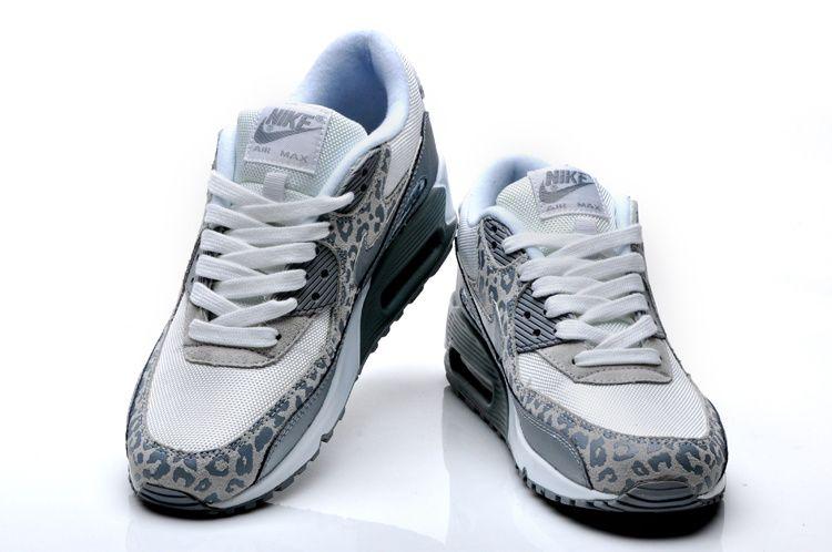 ... £59.99 nike air max 90 womens leopard print white silver 1f362a0b91e