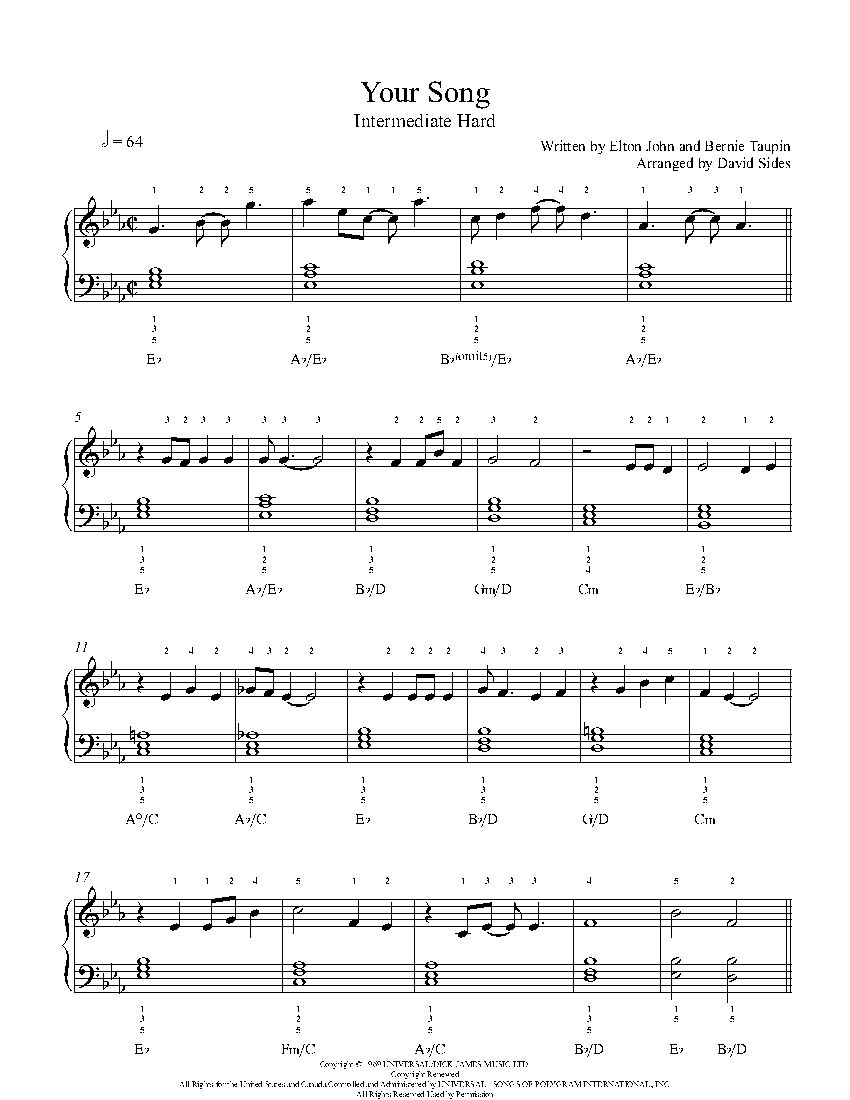 Your Song By Elton John Piano Sheet Music Intermediate Level