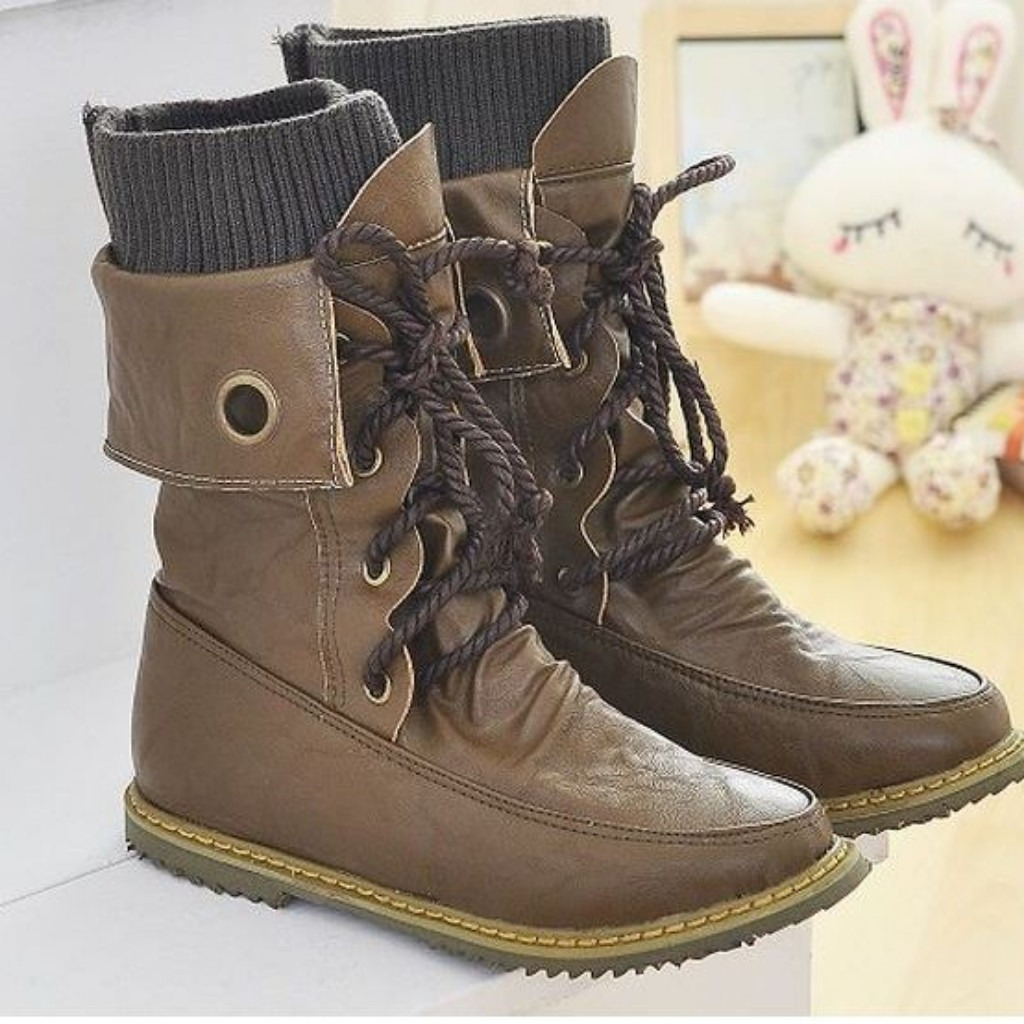 557dad553eb88 Fashion Vintage Lace up Women Motorcycle Snow Boots | Shoes | Snow ...
