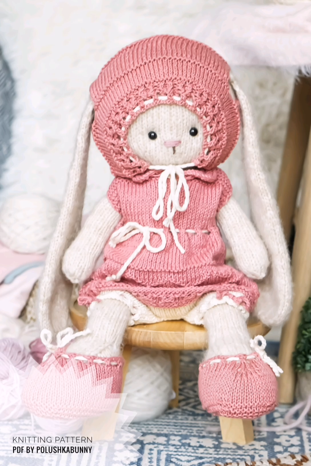 Photo of Easter Knitting Pattern pdf Pretty Outfit for Bunny Toy by PolushkaBunny #easter #bunny #knitting