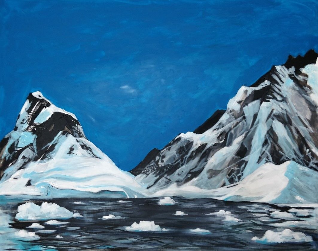 Acrylic Painting Of Peltier Channel Antarctica By Sarah Barnard