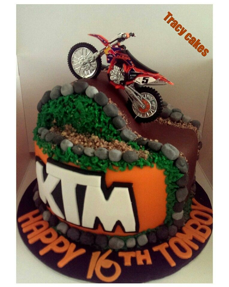 Fabulous Ktm Birthday Cake With Images Motorcycle Birthday Cakes Dirt Funny Birthday Cards Online Overcheapnameinfo