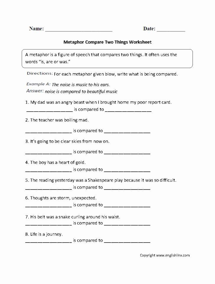 Metaphor Worksheet Middle School Worksheet Ideas ...
