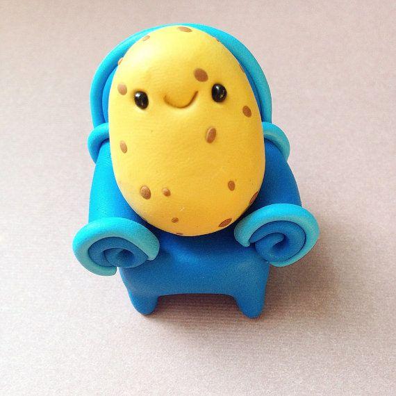 Miniature couch potato cute little polymer clay veggie figurine kawaii style