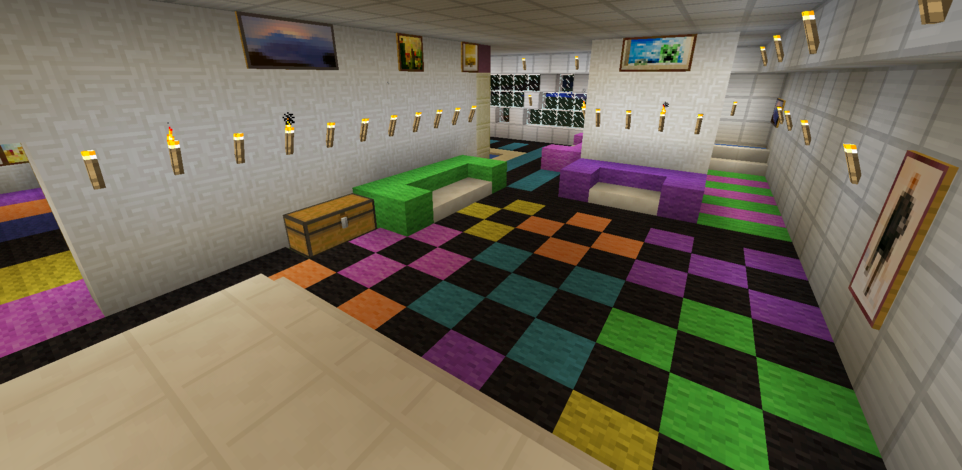 Minecraft Rainbow Checker Carpet Design Colorful Minecraft