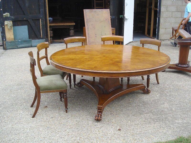 Large Round Dining Table 6ft Diameter Regency Revival Burr