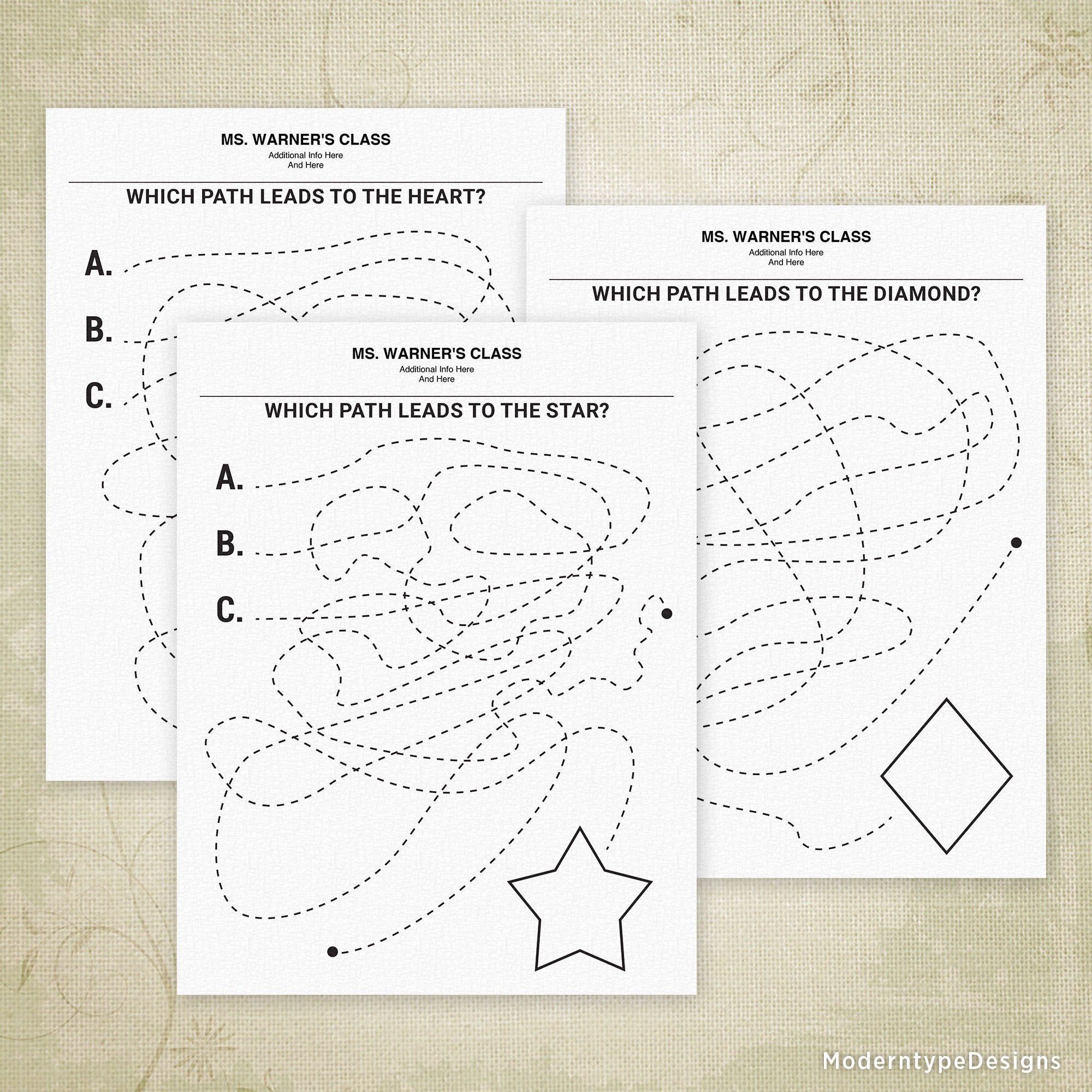 Find The Path To The Shape Printable Teacher Find It