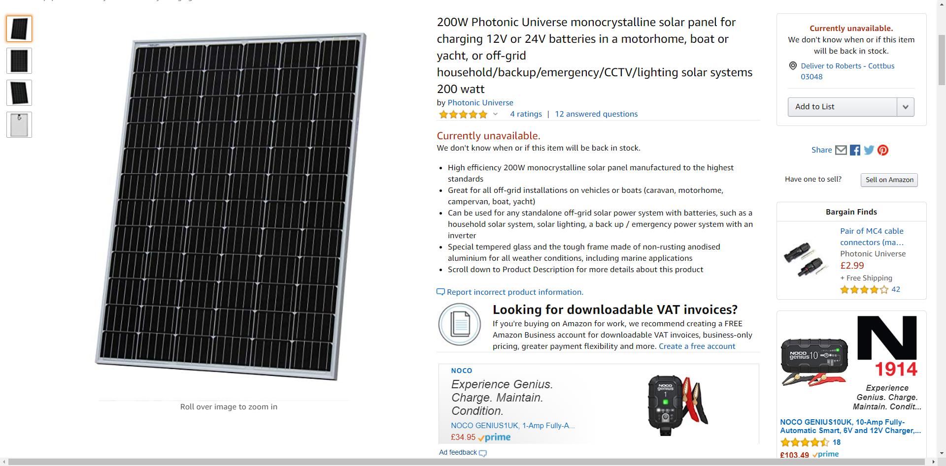 200w Photonic Universe Monocrystalline Solar Panel For Amazon Co Uk Electronics In 2020 Monocrystalline Solar Panels Solar Panels Emergency Power
