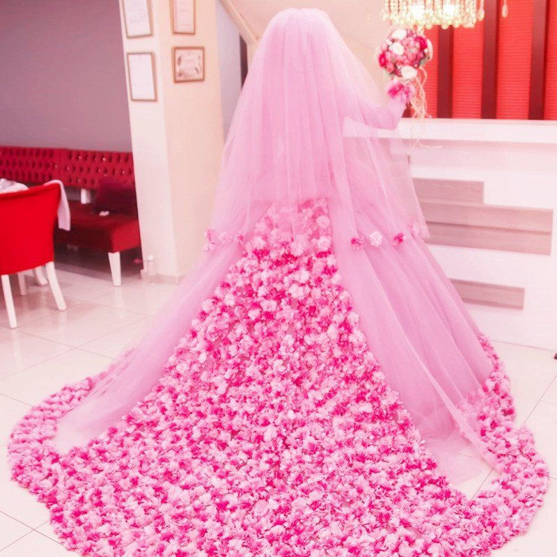 Long Sleeves Ball Gowns Flower Wedding Dresses Hijab For Muslim ...
