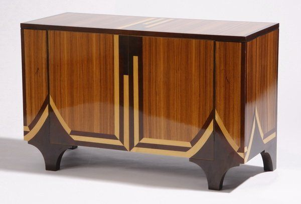 art deco style zebrawood cabinet with inlay on is part of Art deco fashion - Art Deco style zebrawood cabinet with inlay on artDeco Style