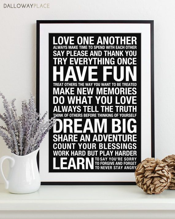 Wall Art Family Rules Sign Subway House Playroom Print Typography Poster Bus Roll Modern Decor 12x18