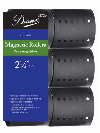 Diane Magnetic Roller Set Black 2 1 2 Inch 6 Count D2726 Beauty Salon Supplies Salon Supplies Roller Set