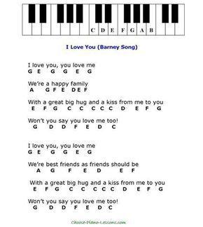 Barney Song Easy Piano Songs Easy Piano Sheet Music Piano Notes Songs