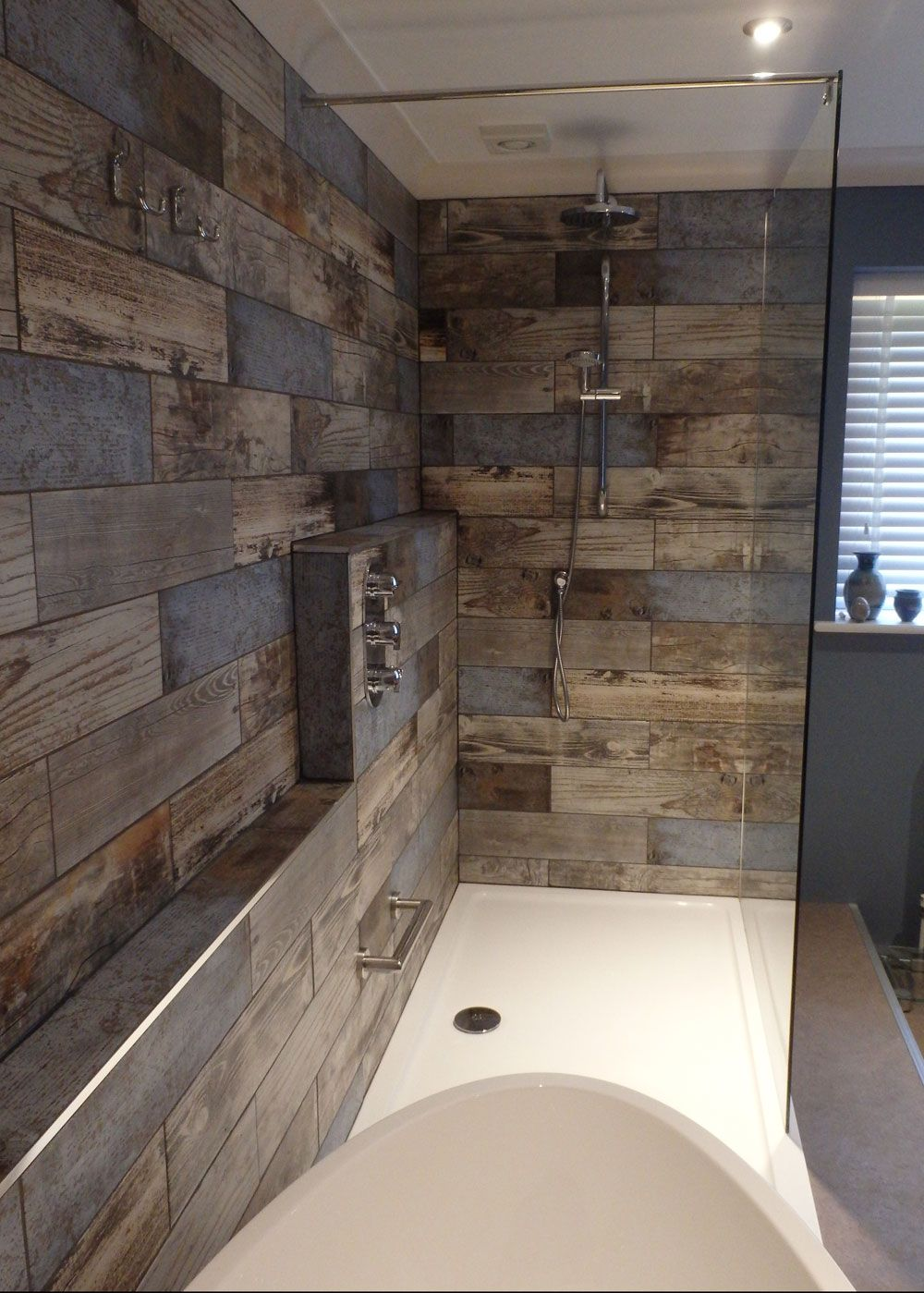 Reclaimed wood effect tiles interior barn doors for Cabin shower tile ideas