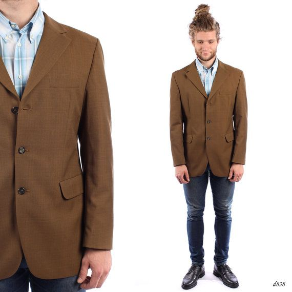 Mens BROWN Blazer . Vintage RETRO Fitted Jacket Slim Fit Sport ...