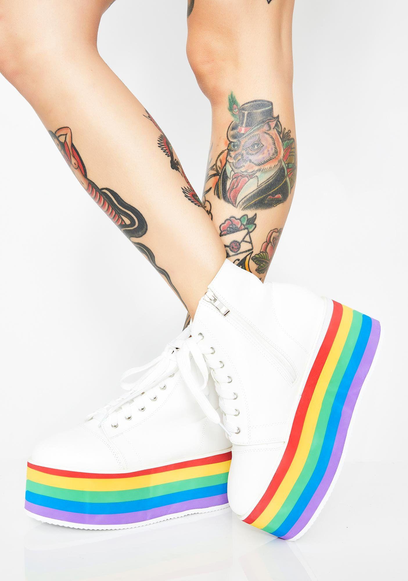 Rainbow Rebellion Platform Sneakers Diy Clothes And Shoes Platform Sneakers Rainbow Outfit