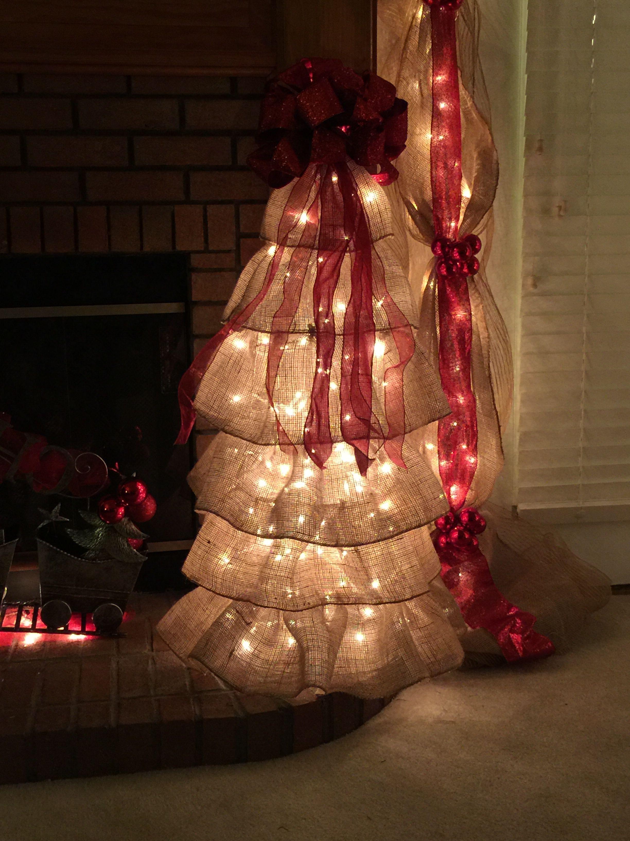 Tomato Cage Burlap Ruffle Christmas Tree