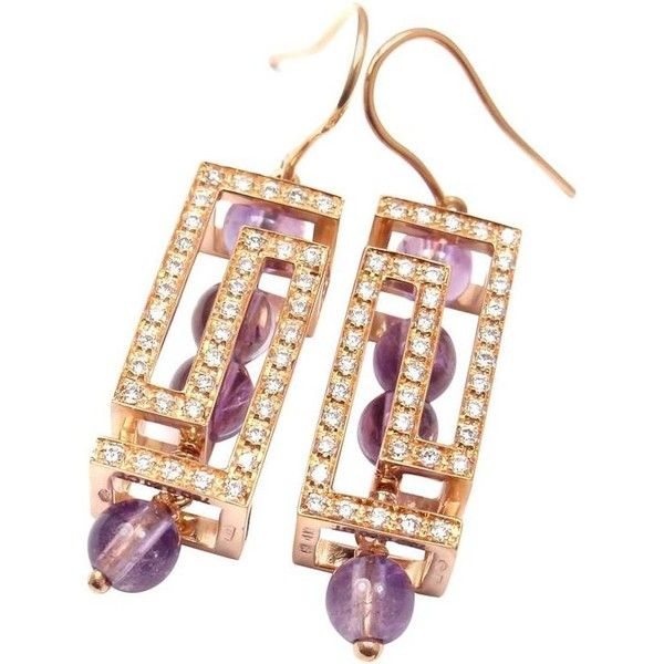 Versace Fedra Diamond Amethyst Rose Gold Earrings 6 600 Bam Liked On Polyvore Featuring Jewelry Drop Red