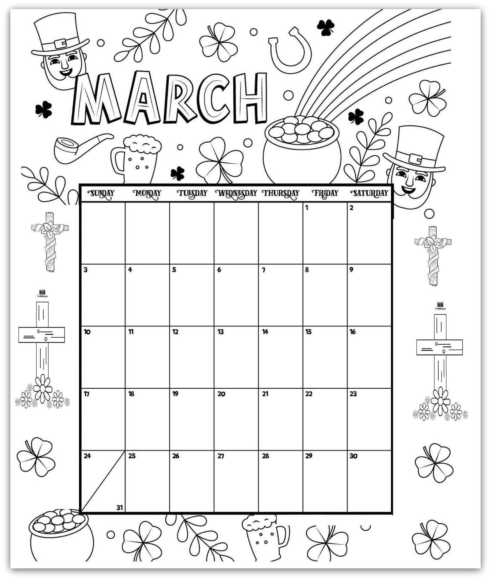 March Coloring Page Printable Calendar