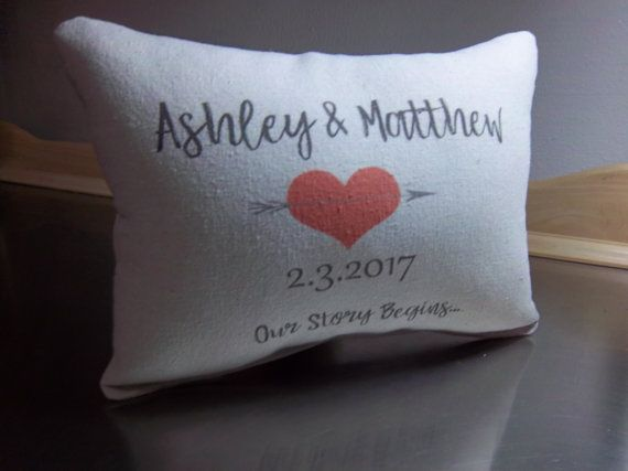 Name Date Pillow Custom Wedding Throw Pillow Personalized 2nd Anniversary Gift Cotton Cush Year Anniversary Gifts 2 Year Anniversary Gift Wedding Throw Pillows