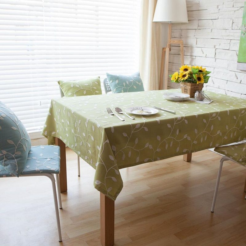 Simanfei Pastoral Cotton Table Cloth Leaves Square Rectangular