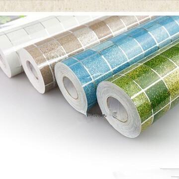 Visit To Buy 45x200cm Mosaic Aluminum Foil Self Adhensive Anti Oil Waterproof Wallpaper For Kitchen Hig Kitchen Wallpaper Decal Paper Kitchen Wall Stickers