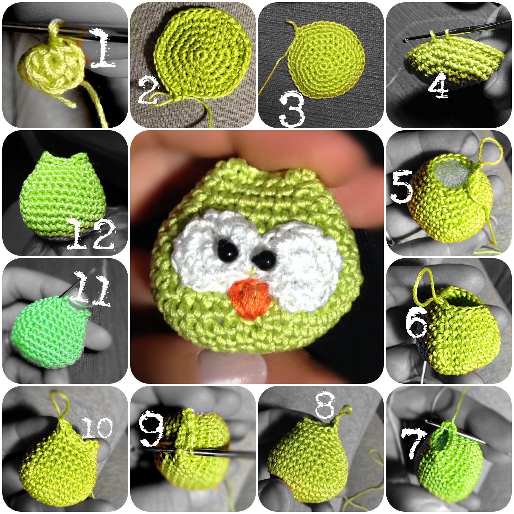 Tutorial Gufetti amigurumi portachiavi 1° passaggio. Owls crochet ...
