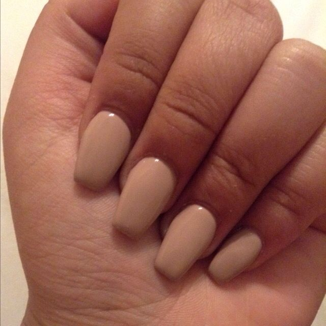 Short Gel Coffin Nails Light Nude Brown Nails Brown Nails