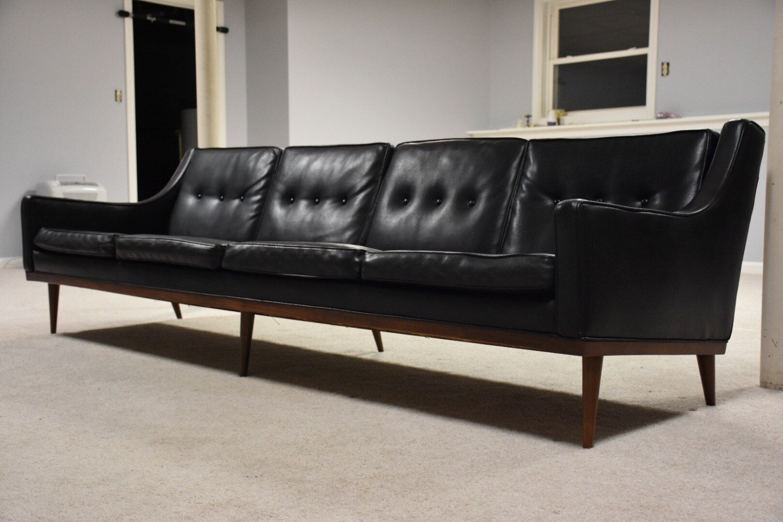 A Wonderful Milo Baughman Designed Black Vinyl Sofa For James Inc.  Furniture. This Mid