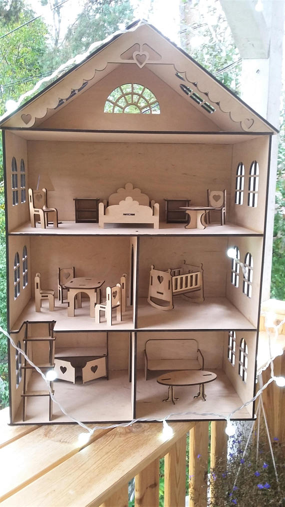 Wooden Unpainted Dollhouse With 4 Floors And Furniture This Doll