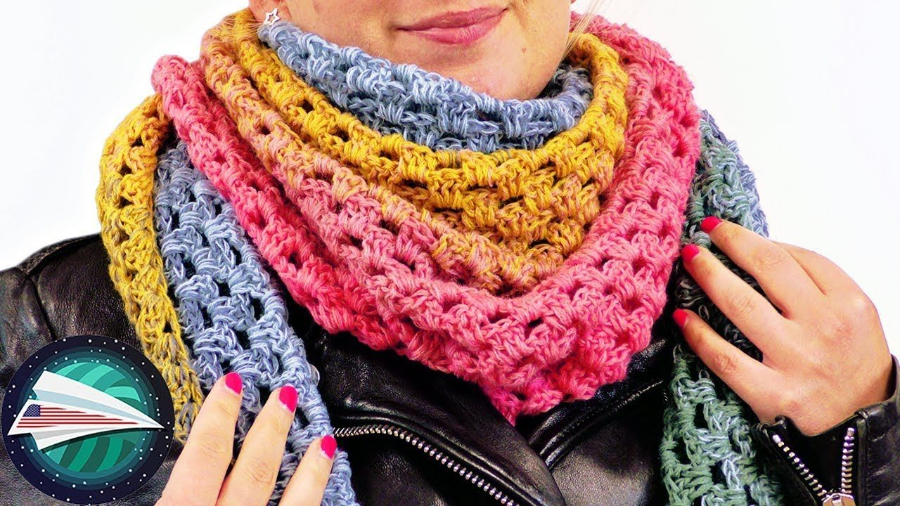 Warm Triangle Scarf Simple Instructions Granny Pattern