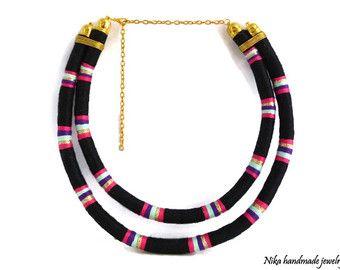 Collar tribal/envuelto de cuerda collar por NikaHandmadeJewelry