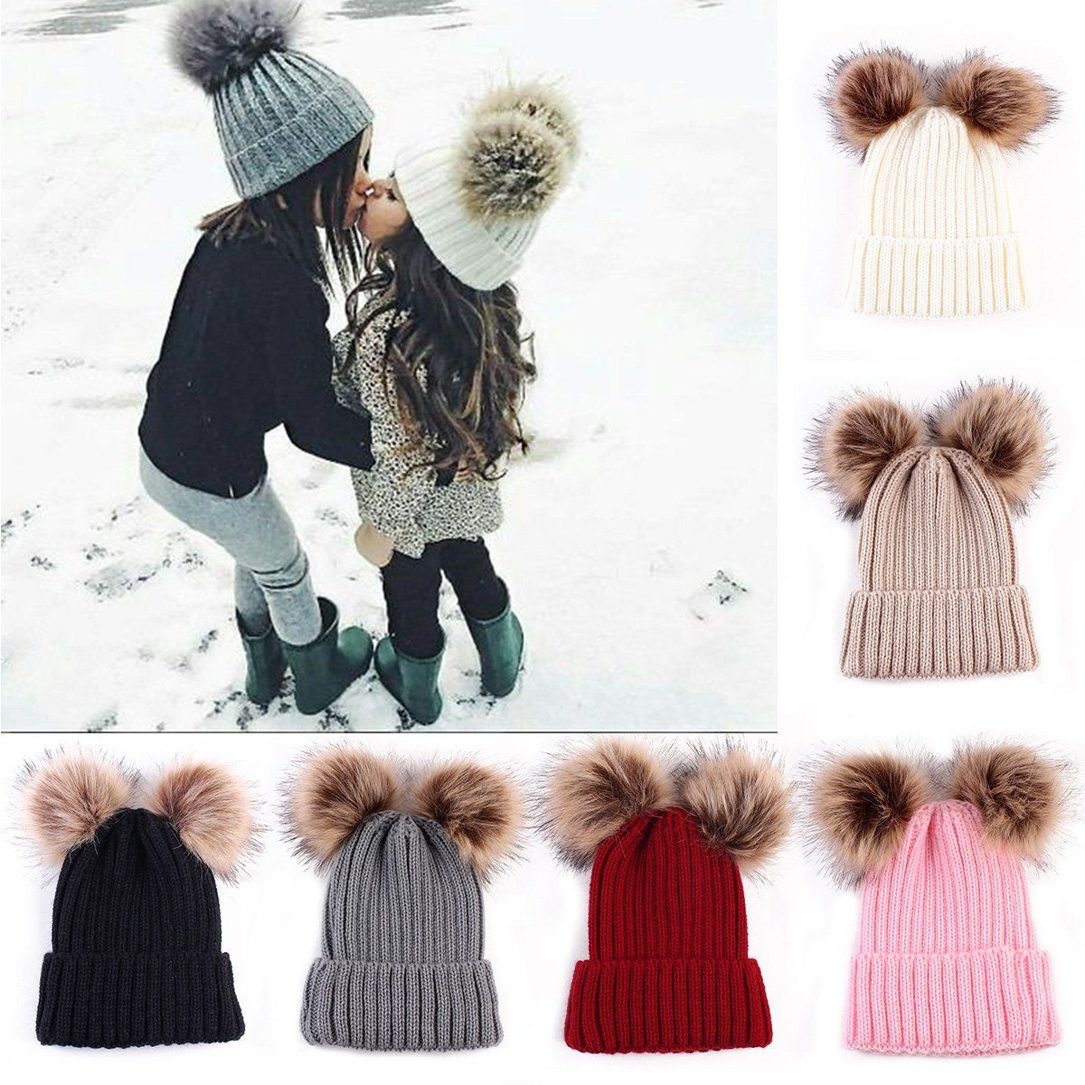 2Pcs Mom Mother Baby Knit Pom Bobble Hat Kids Girls Boys Winter Warm Beanie  Cap d5f2f8341d4