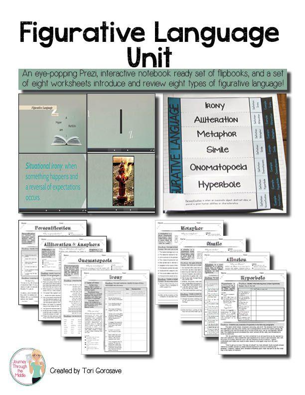 Figurative Language Unit Prezi Flip Book And Worksheets