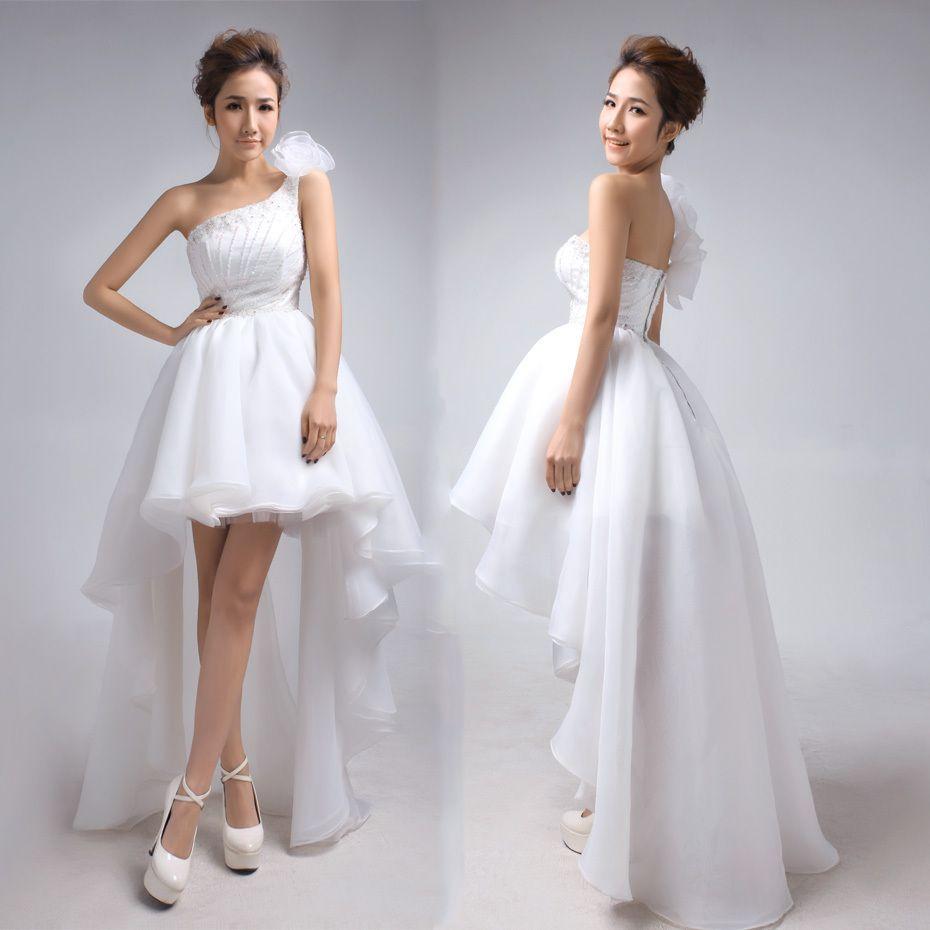 Wedding dress with short front and long back  Princess flower decorate one shoulder highlow hem wedding dress