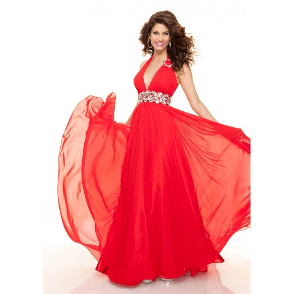 Comes in different colors, like dark green. At Dillards! A-Line Halter Top Beading Chiffon Long Red Prom Dress
