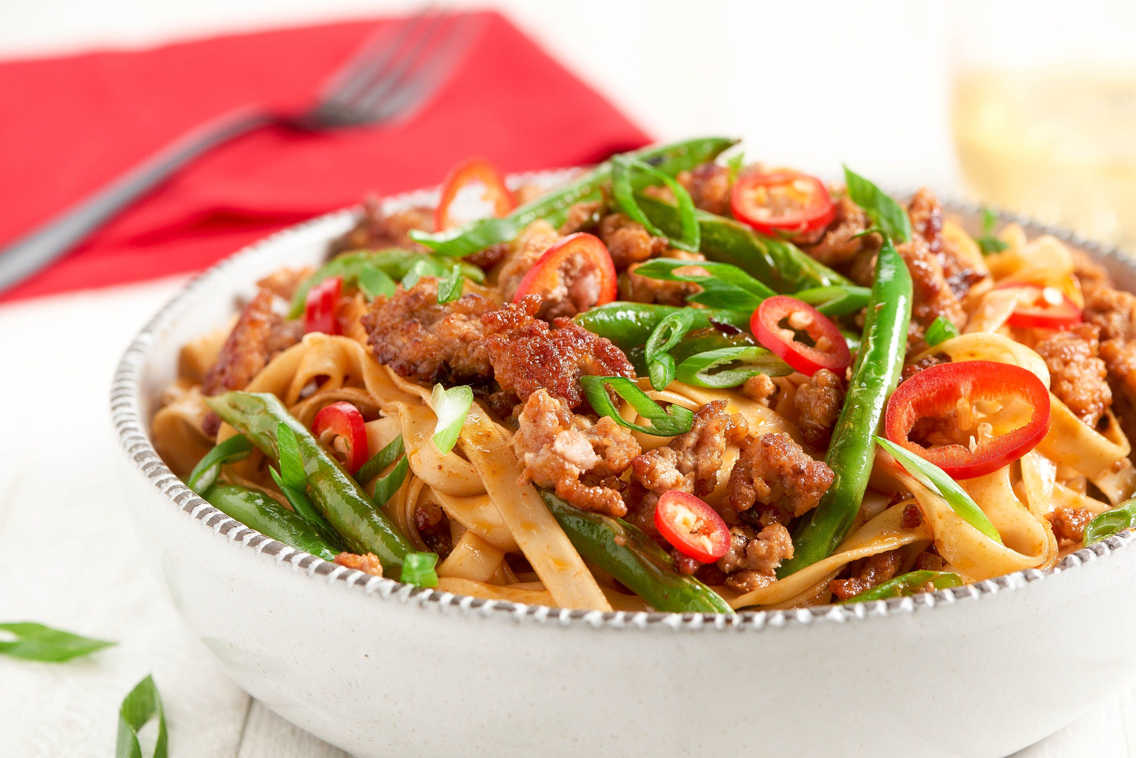 Korean Pork Noodle Bowl and green beans and Fresno chile