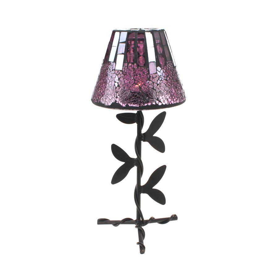 New plum purple mosaic tealight candle holder lamp glass garden