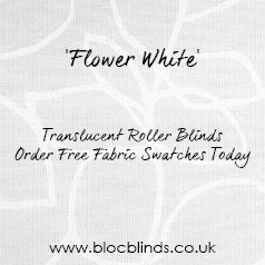 'Flower White'  White roller blinds made to measure in the UK, available online. Order free fabric swatches.