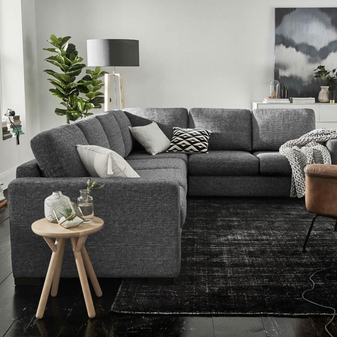 Signature Contemporary 6 Seat Fabric Corner Sofa With Right 2 Seat Modular Standard In 2020 Corner Sofa Unique Sofas Furniture