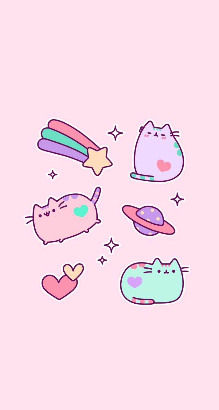 Pink Pastel kawaii iPhone wallpaper Fondos de gato