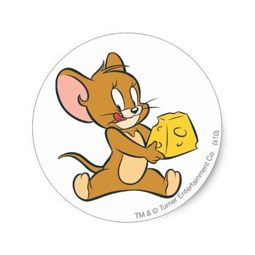Pegatina Redonda Jerry tiene gusto de su queso