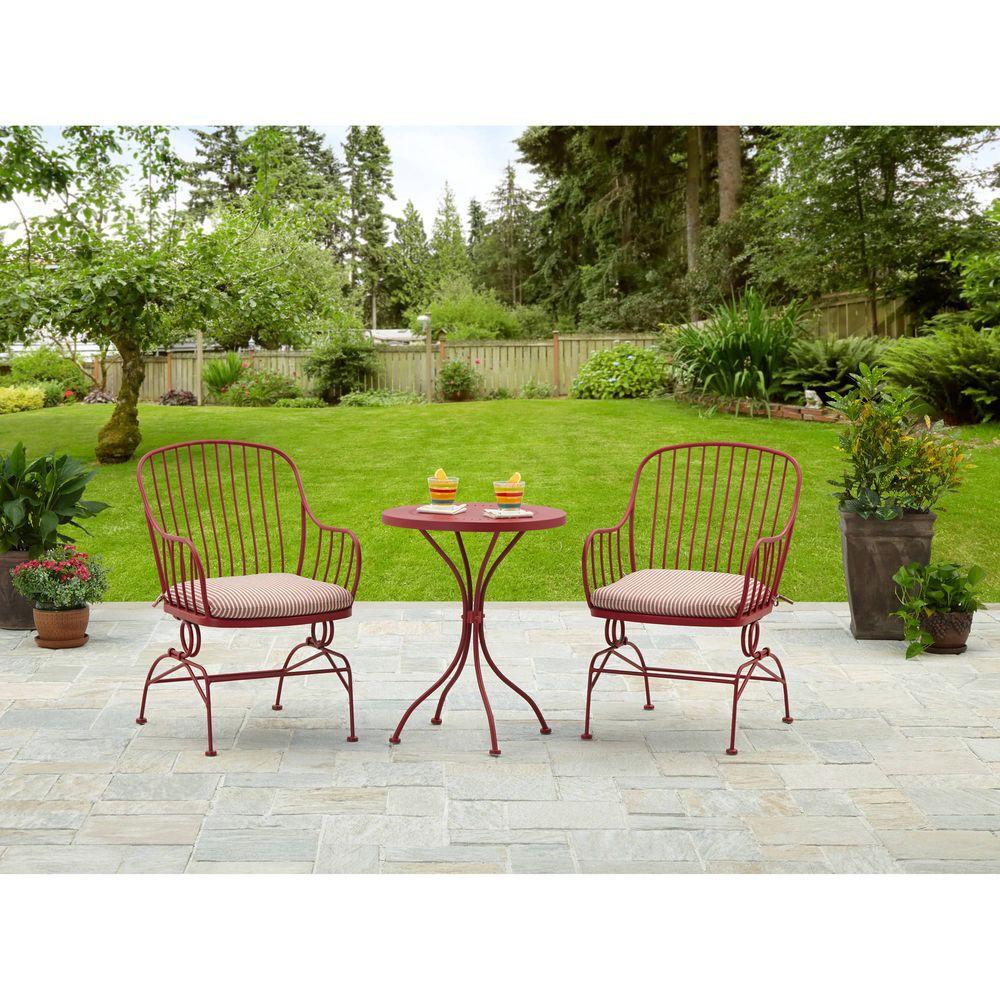 3PC Patio Garden Bistro Set Metal Pool Furniture Table ...