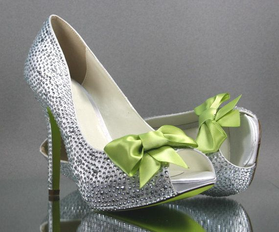 Wedding Shoes Silver Rhinestone Covered Platform P Toe With Lime Green Bow