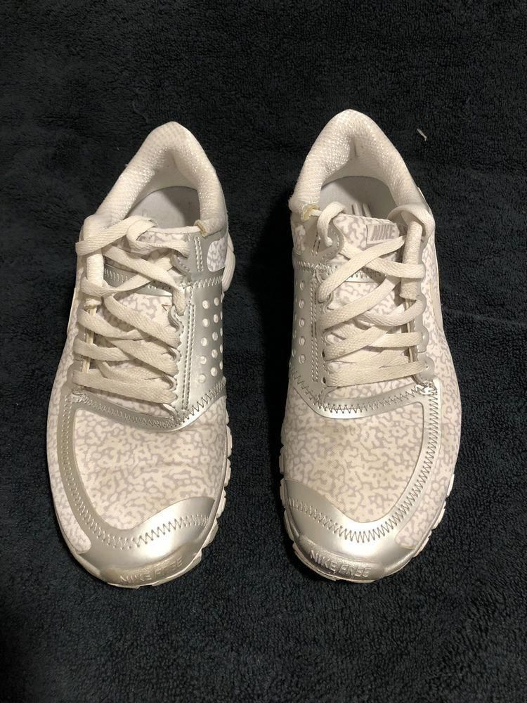 84ce668ed9d7d4 Used Womens Nike 5.0 Running Shoes Size 8 Good Condition White And Silver   fashion