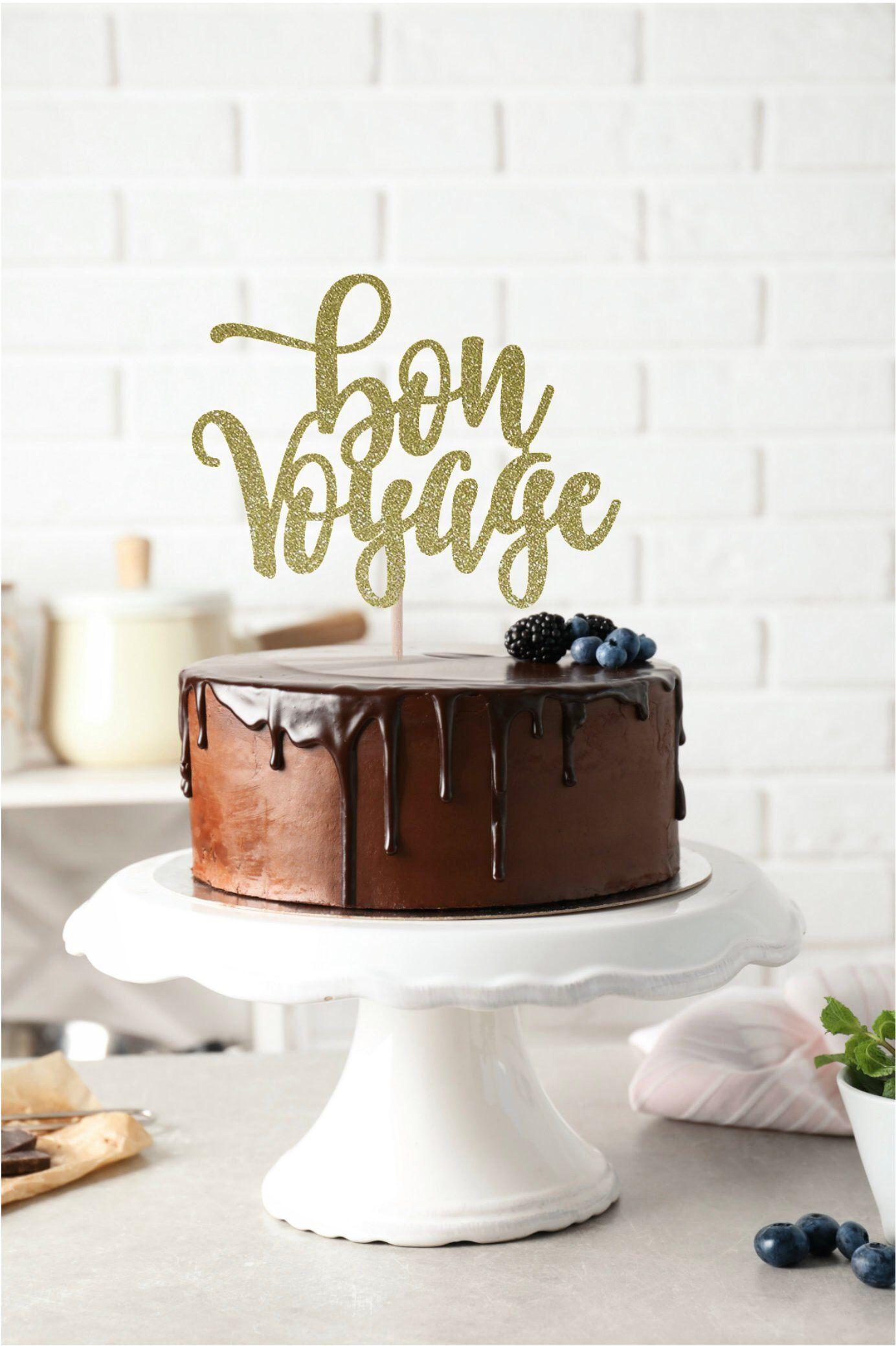 Bon Voyage Cake Topper Going Away Party Cake Topper Retirement