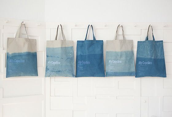 Individually hand dyed indigo shop bags by @Katherine Adams May Available in the London shops for £20.