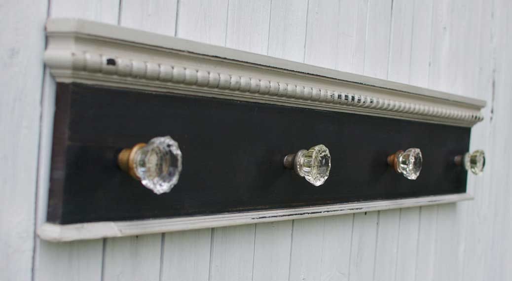 Antique Glass Door Knob Coat Rack on Reclaimed Wood-large | Glass ...