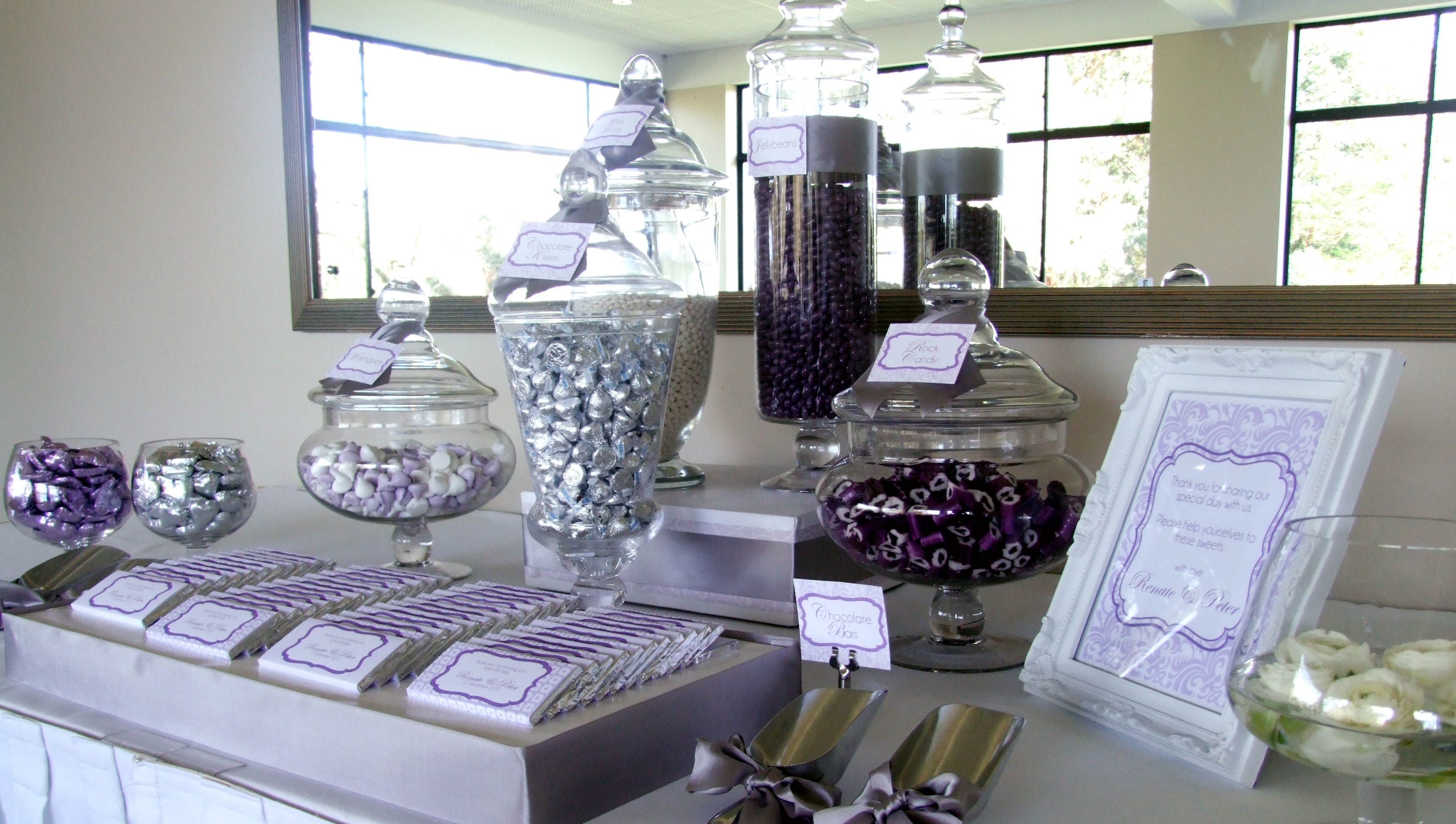 Sweet amp sparkly wedding candy buffet pictures to pin on pinterest - Purple Candy Bar Ideas For Reception As Wedding Favors