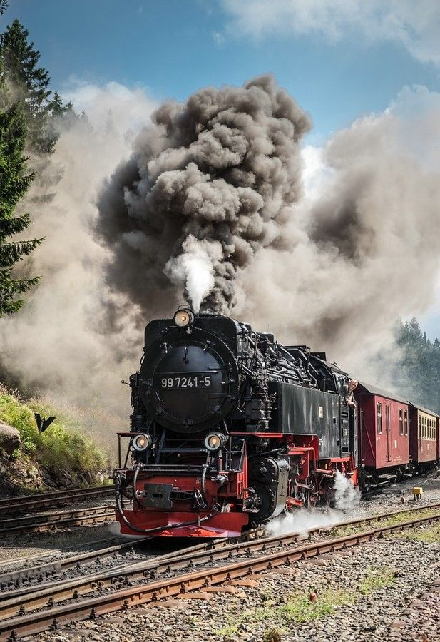 cool train with lot of smoke
